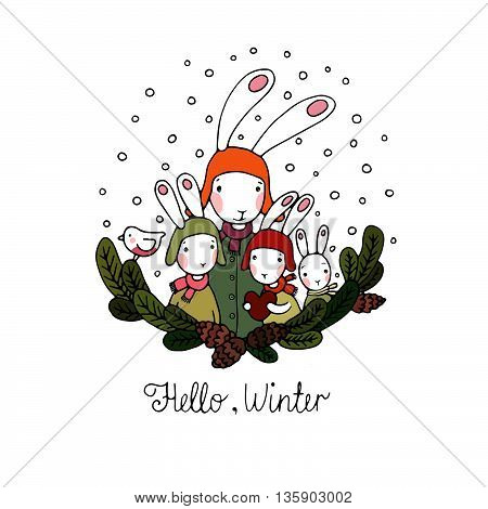 Family of rabbits, tree branches and bird. Hand drawn vector illustration.