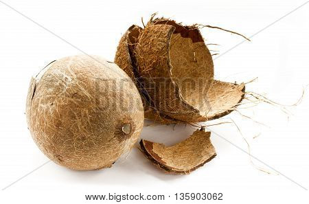 Open coconut isolated on a white background