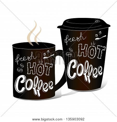 Black coffee cup covered with hand-drawings on the theme of coffee vector illustration on a white background