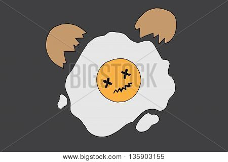 Fried dead egg. Hand drawn vector stock illustration.
