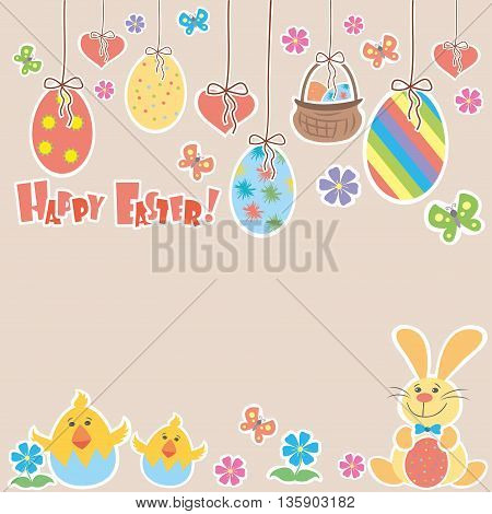 Easter Background with cute rabbit colorful eggs and a chick place for text vector illustration