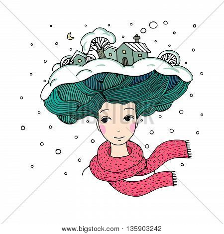 Young beautiful woman with an interesting hairstyle. Winter city.Hand drawn vector illustration.