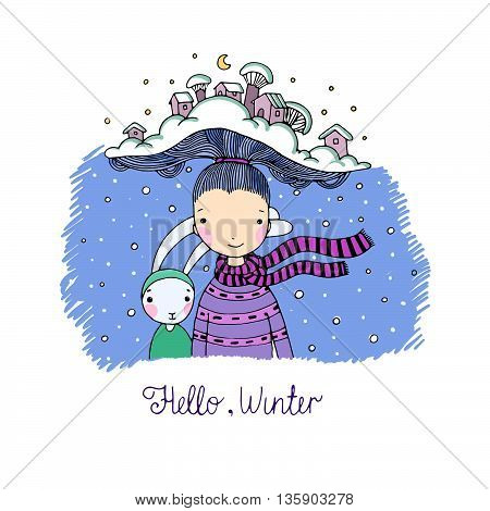 A young beautiful girl with interesting hat and her friend hare. Winter Village. Hand drawn vector illustration.
