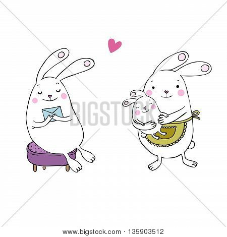 Cute cartoon bunnies. Hand drawing isolated objects on white background. Vector illustration.