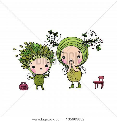 Two little cartoon fairies. Hand drawing isolated objects on white background. Vector illustration.