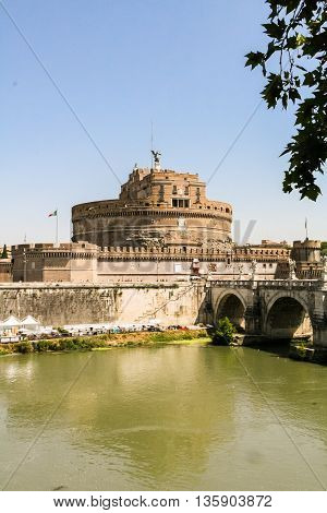 Mausoleum of Hadrian Castel Sant'Angelo and Eliyev bridge over the River Tiber in Rome.