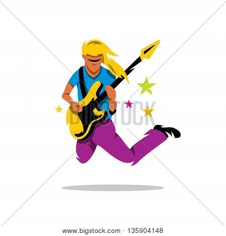 Rock musician is jumping with guitar. Isolated on a White Background
