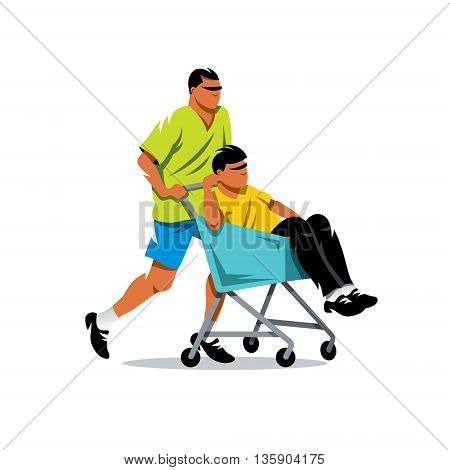 Two boys playing together, fool around in the shop. Isolated on a white background