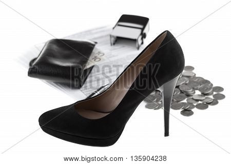 Elegant high heel shoe business documents wallet with paper money one polish zloty coins pen and rubber stamp. Businesswoman concept on white background.