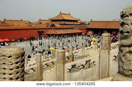 Beijing China - May 3 2005: Courtyard and view from the Hall of Preserving Harmony to the Hall of Ancestral Worship in the Forbidden City