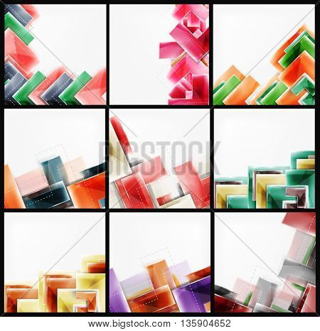 Collection of arrow abstract backgrounds. Set of web brochures, internet flyers, wallpaper or cover poster designs. Geometric style, colorful realistic glossy arrow shapes, blank templates with