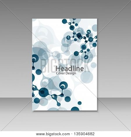 Abstract molecules brochure design. Vector cover template.