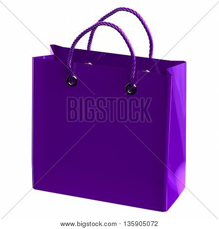 Purple shopping bag isolated on white background. 3D rendering.