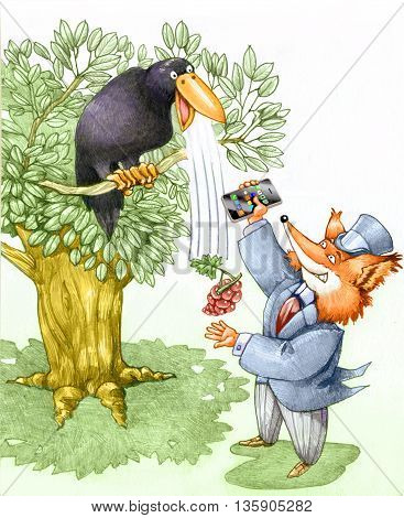 a fox tries a crow with a smartphone and manage to get the grapes