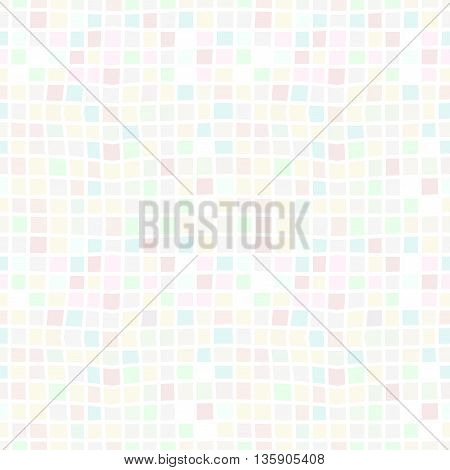 Vector Seamless Modern Simple Background With Multicolored Pastel Mosaic Pattern Of Squares. Textile