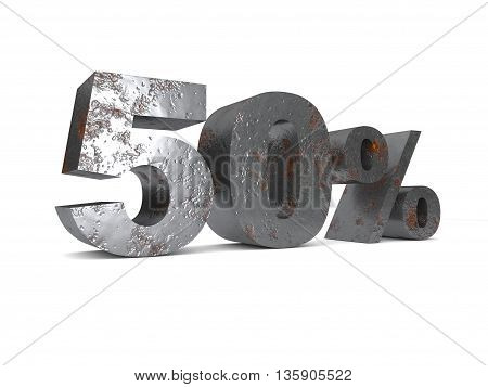 Metal fifty percent off. Discount 50%. 3D illustration.