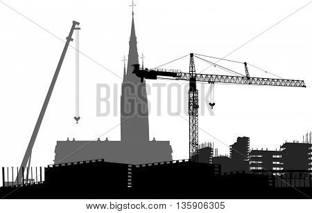 illustration with industrial landscape and cathedral on white background