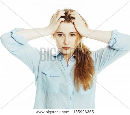 cute young pretty girl thinking on white background isolated close up