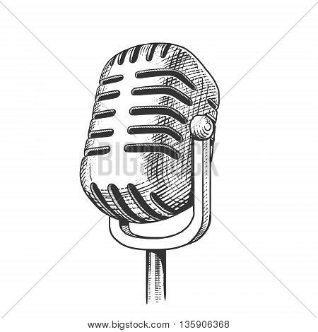Vintage microphone hand drawn engraving style vector illustration. Scratch board imitation.