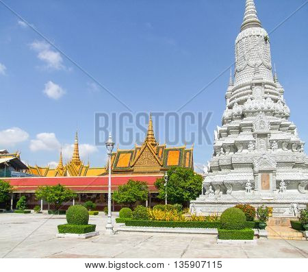 scenery around the Royal Palace in Phnom Penh located in Cambodia