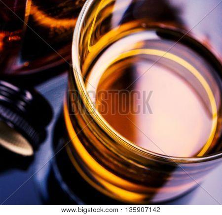 bourbon whiskey. Toned image