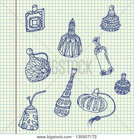 Parfume bottles set. Hand drawn vector stock illustration. Sheet ballpen drawing.