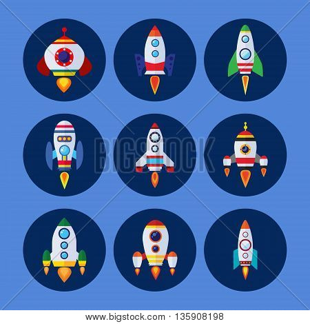Space rockets vector icons set in flat style.