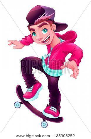 Happy skater boy. Cartoon vector isolated character.