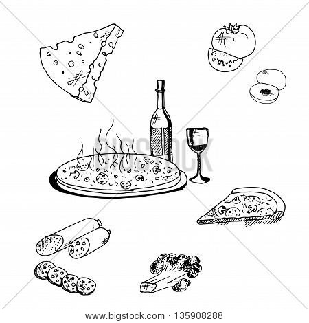 Pizza with food. Hand drawn vector stock illustration. Black and white whiteboard drawing.