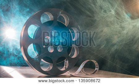 Reel Of Film Retro In The Smoke Green And Blue