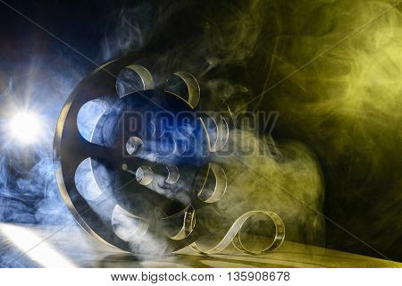 Reel Of Film Retro In The Smoke Blue And Yellow
