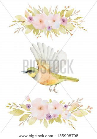 Watercolor set of flying birds and flowers. Hand painted illustration on white background. Elements for design of congratulatory cards, invitations, business cards and more.