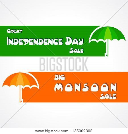 Big Monsoon and Independence Day sale banner for different discounts stock vector