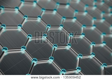 Graphene atomic structure, nanotechnology background 3d illustration