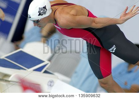 BARCELONA - JUN, 11: Hungarian swimmer Katinka Hosszu jumps into the water during the Trophy Ciutat de Barcelona in Sant Andreu Club, June 11, 2016 in Barcelona, Spain