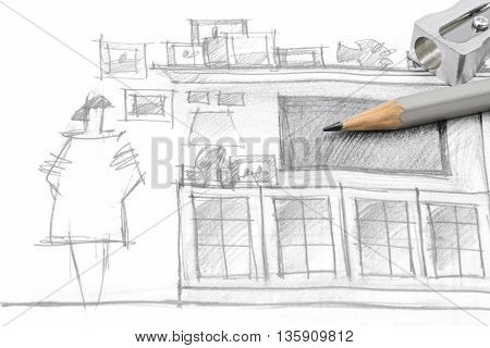 Drawing Of Modern Living Room Furniture, With Pencil And Sharpener