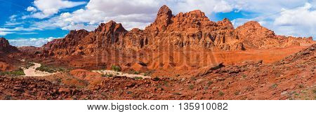Amazing colors and shape of the rocks in Valley of Fire State Park, Nevada, USA. Panorama