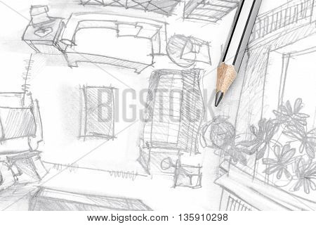 Graphical Sketch Of Living Room Furniture With Pencil, Top View