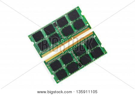 Computer Ram Modules On White Background.