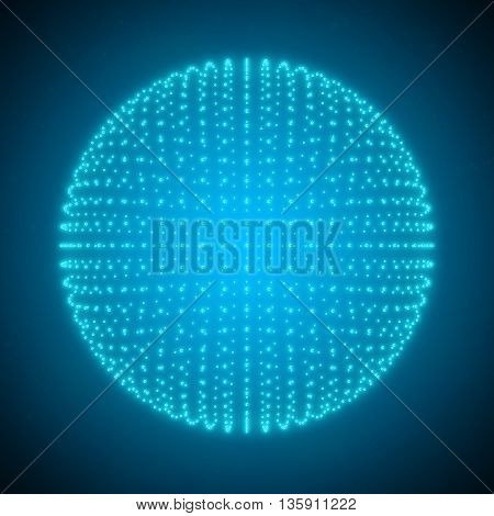 The sphere consisting of Points. Abstract Globe Grid 3d Illustration