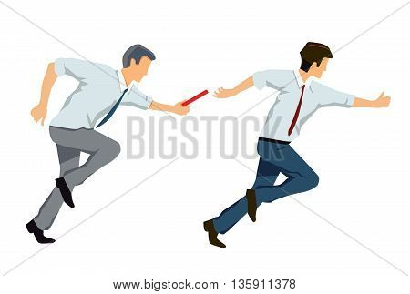 Business relay, cooperation, partnership, together, businessman, illustration