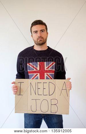 Sad English Man Isolated On White Background