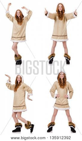 Eskimo girl  isolated on white