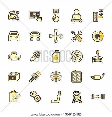 Car and mechanic vector icon sets isolated on white background.