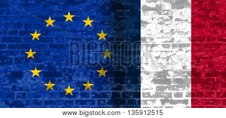 Image relative to politic relationships between European Union and France. National flags textured by ancient brick wall