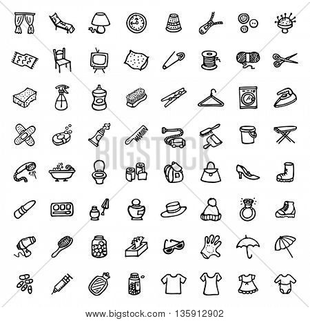 black and white hand drawn icons - HOME & ACCESSORIES