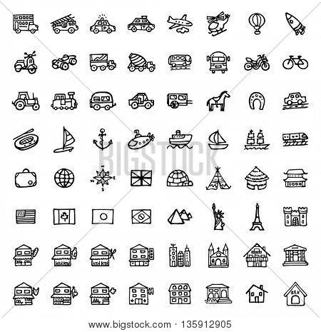 black and white hand drawn icons - TRANSPORTATION & ARCHITECTURE