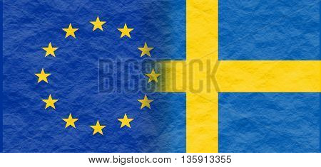 Image relative to politic relationships between European Union and Sweden. National flags textured by crumpled paper
