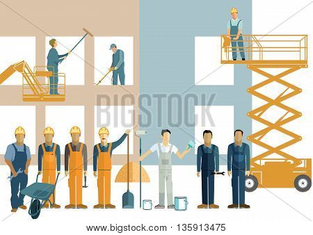 Construction and building cleaning, construction worker, building