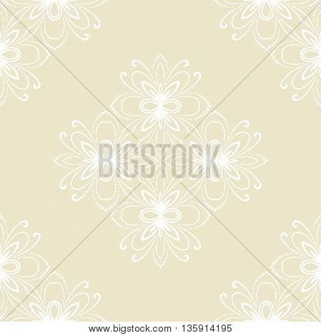 Floral vector ornament. Seamless abstract classic pattern with flowers. Light yellow and white pattern